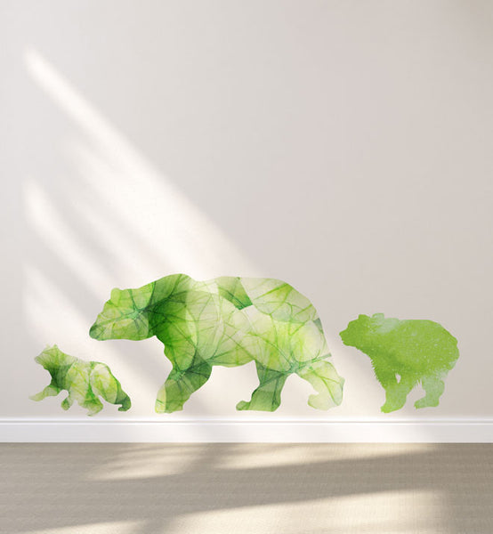 Watercolour Flowery Bear Family Wall Sticker