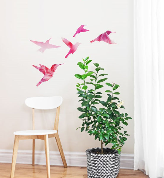 Watercolour Bird Family Set Wall Sticker