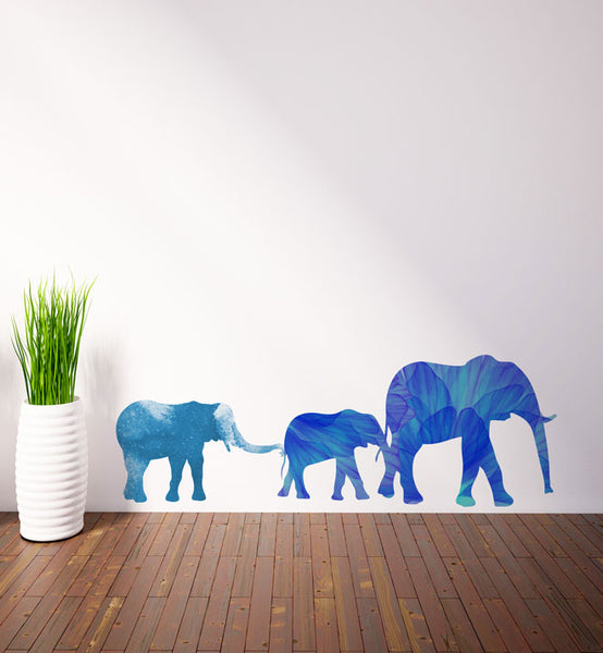 Watercolour Elephant Family Wall Sticker
