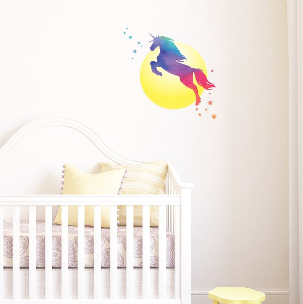 Rainbow Unicorn with Moon and Stars Wall Sticker