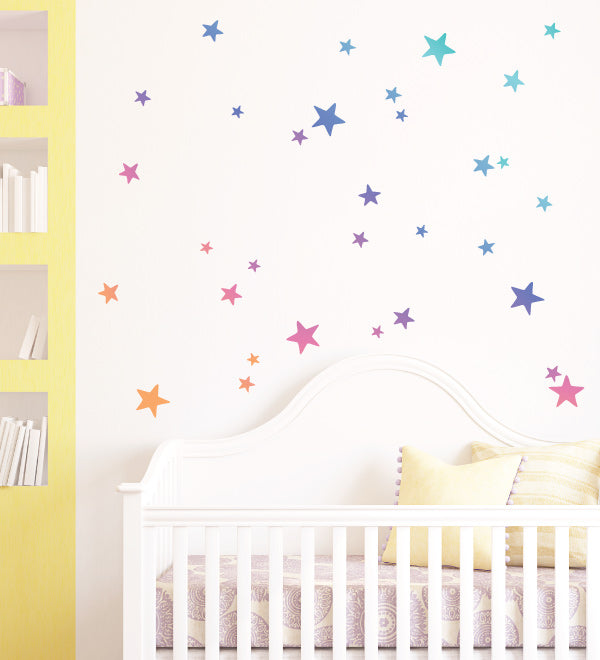 Rainbow Gradient Stars Pattern Wall Sticker