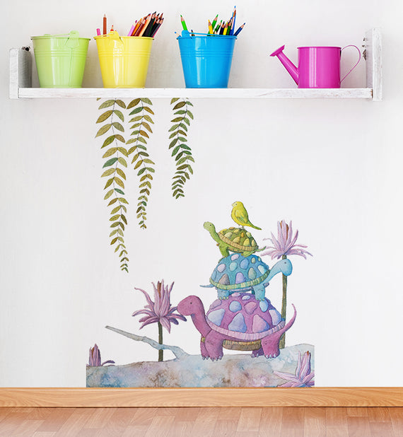 Silly Stacked Turtles Wall Sticker