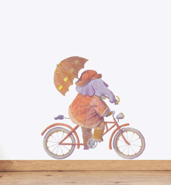 Elephant Riding Bike Wall Sticker