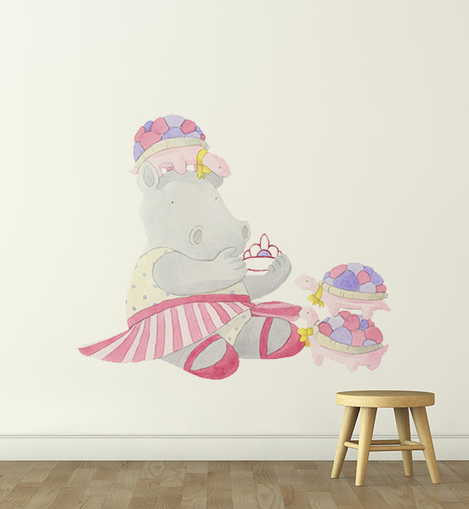 Harriet The Hippo with Turtles Wall Sticker