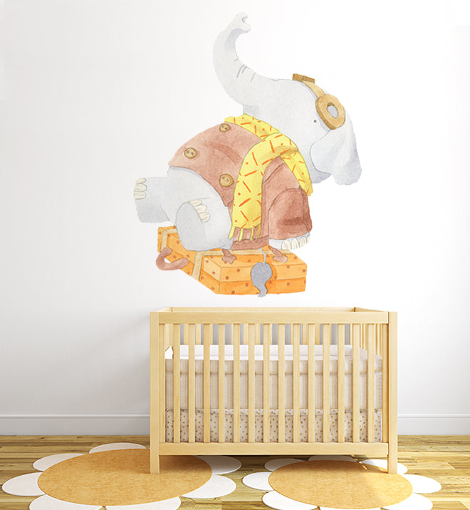 Tegan The Travelling Elephant Wall Sticker