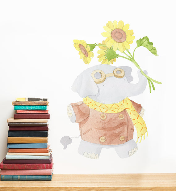 Tegan The Elephant Holding Flowers Wall Sticker