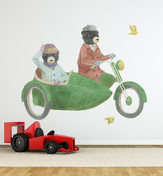 Bears Riding Together With Side Car Wall Sticker