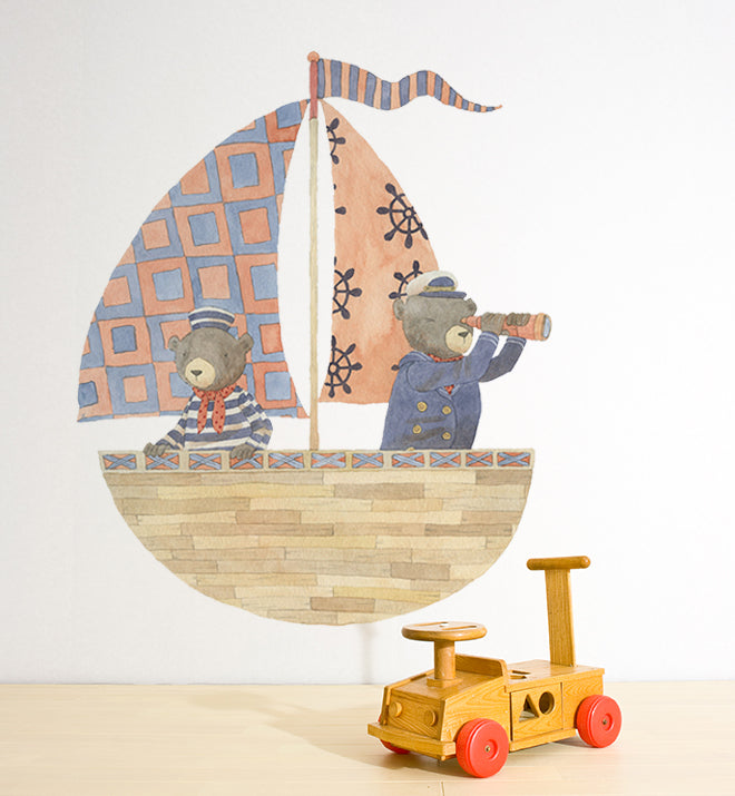 Bears On Sailing Boat Wall Sticker