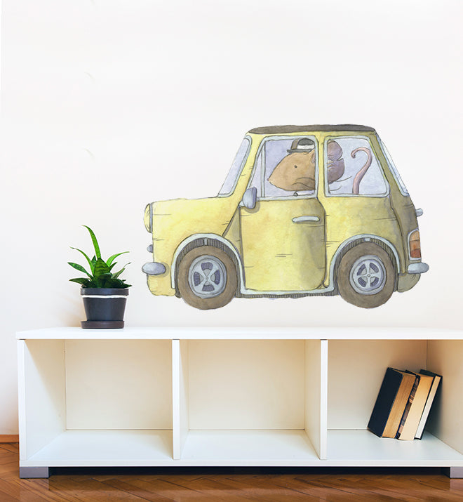 Small Mouse Driving Mini Car Wall Sticker