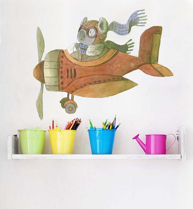 Koala Flying Plane Wall Sticker