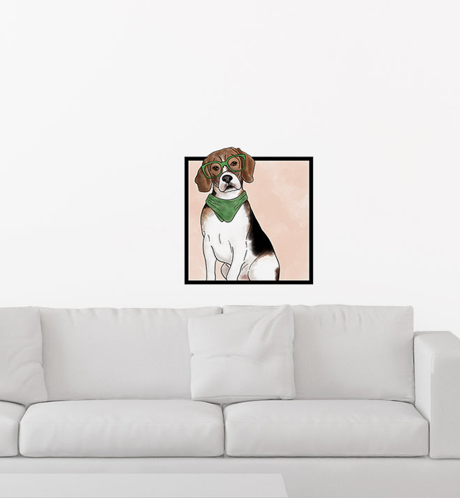 Beagle Dog With Glasses Wall Sticker
