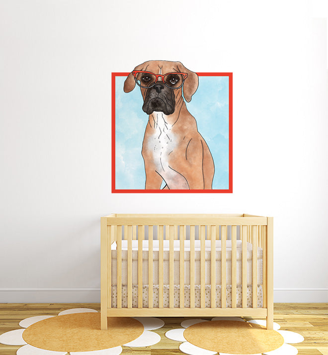 Boxer With Glasses Wall Sticker