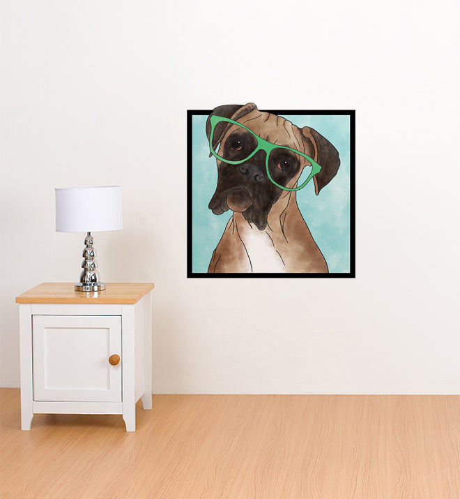 Curious Boxer With Glasses Wall Sticker