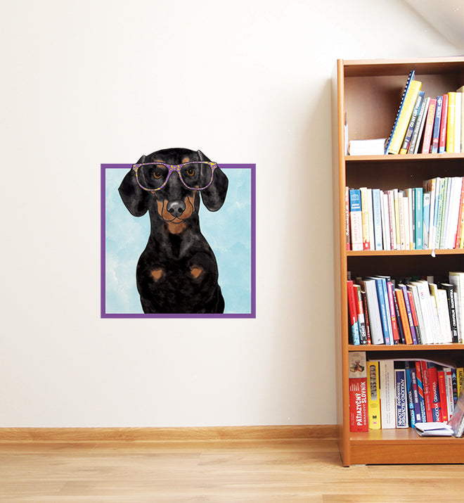Dachshund With Speckled Glasses Wall Sticker