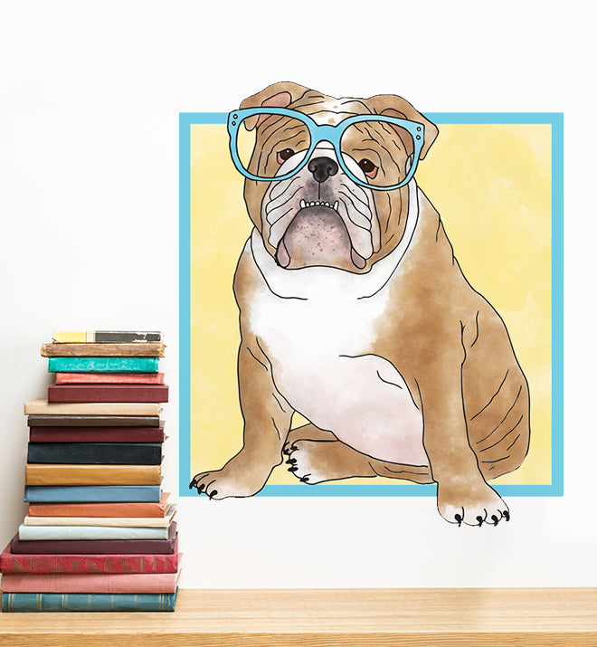 English Bulldog With Glasses Wall Sticker