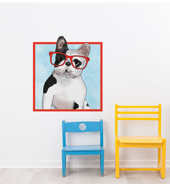 french bulldog with glasses wall sticker | little sticker boy