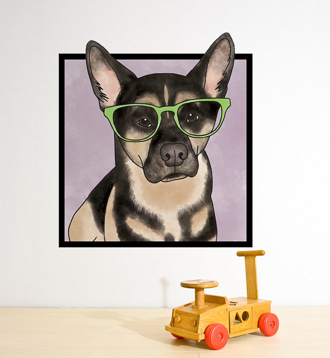 German Shephard With Glasses Wall Sticker