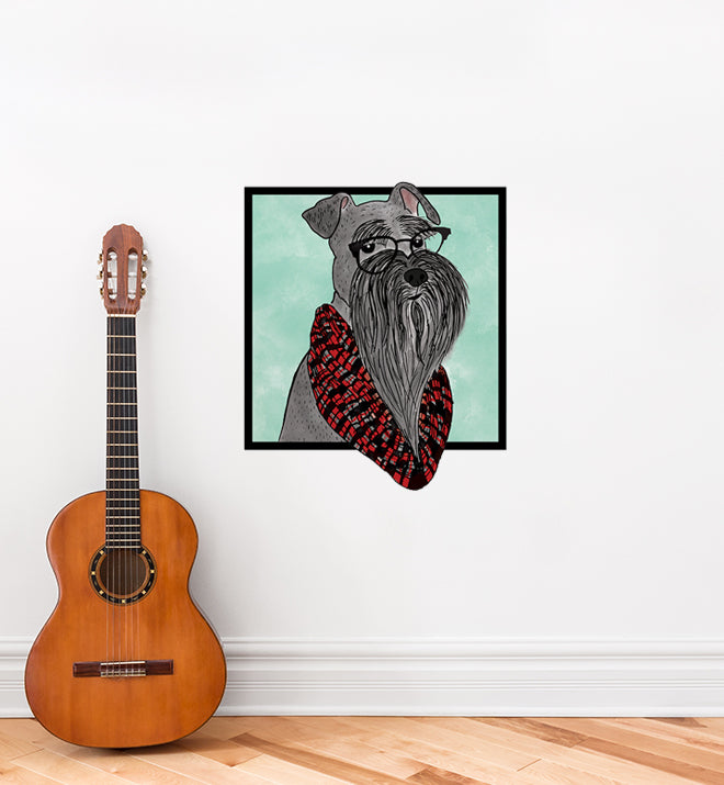 Miniture Schnauzer With Glasses Wall Sticker