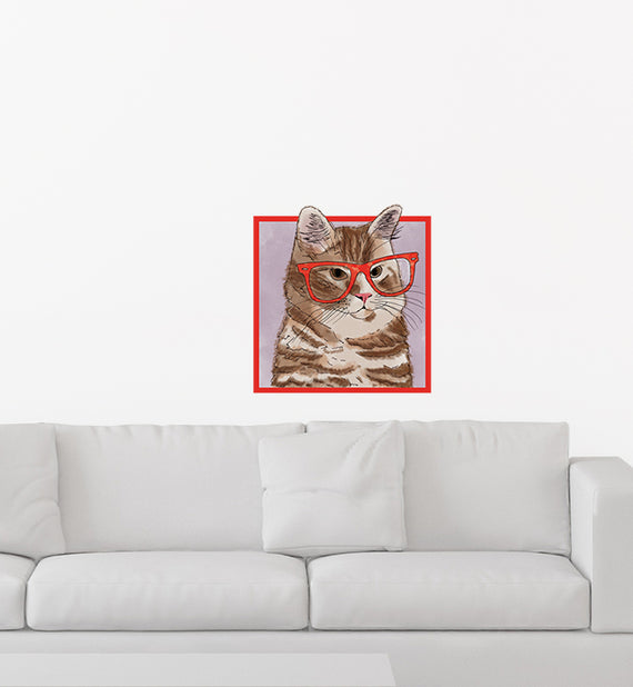 Orange Tabby Cat With Glasses Wall Sticker