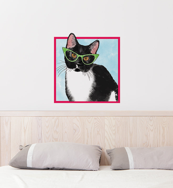 Tuxedio Cat With Glasses Wall Sticker