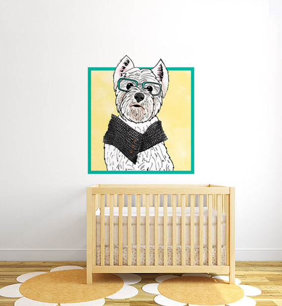 West Highland Terrier With Glasses Wall Sticker