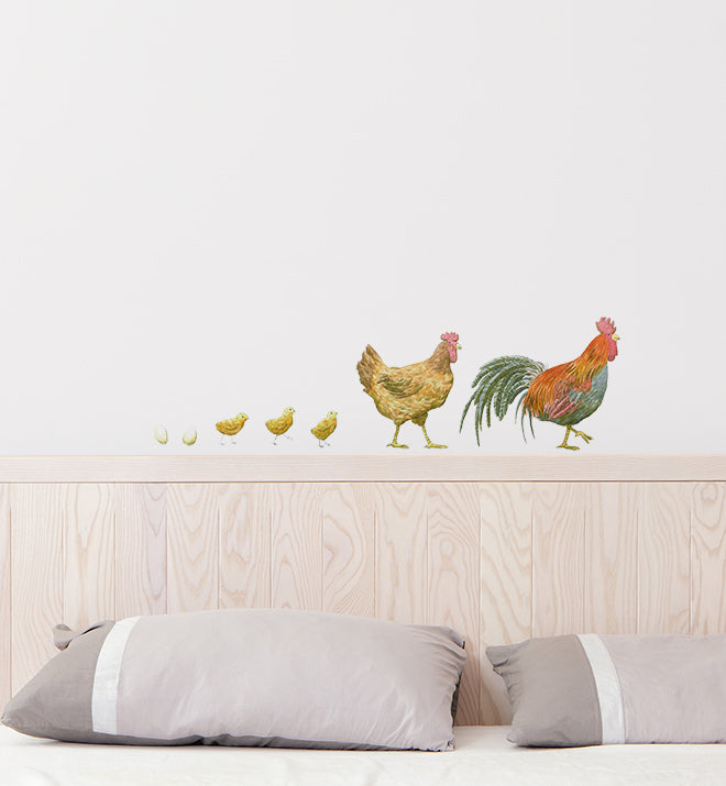 Chicken Family On A Walk Wall Sticker