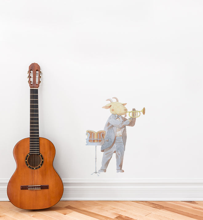Goat Learning Trumpet Wall Sticker