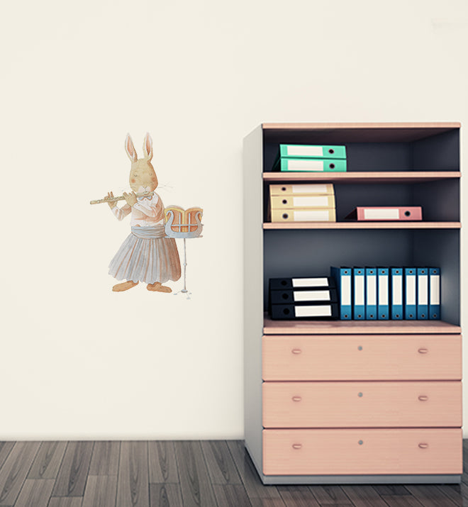 Rabbit Learning Flute Wall Sticker