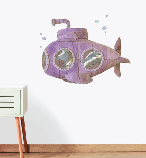 Submarine With Bubbles Wall Sticker
