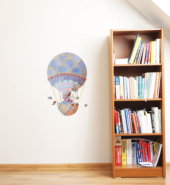 Zebra Flying Hot Air Balloon Wall Sticker