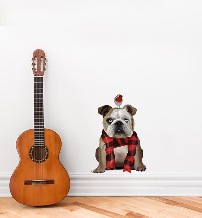 English Bulldog With A Scarf Wall Sticker