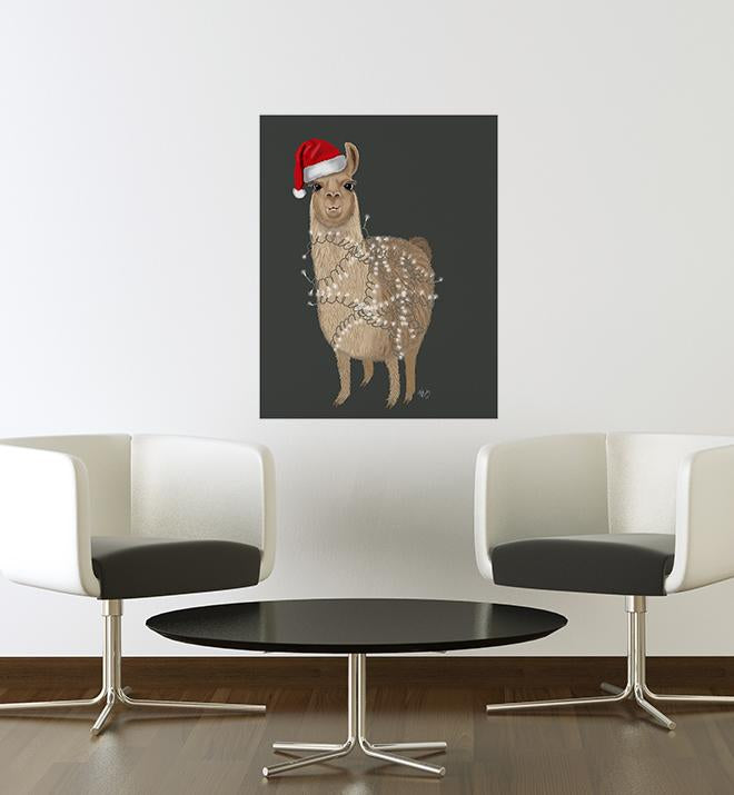 Christmas Llama With Lights Wall Sticker