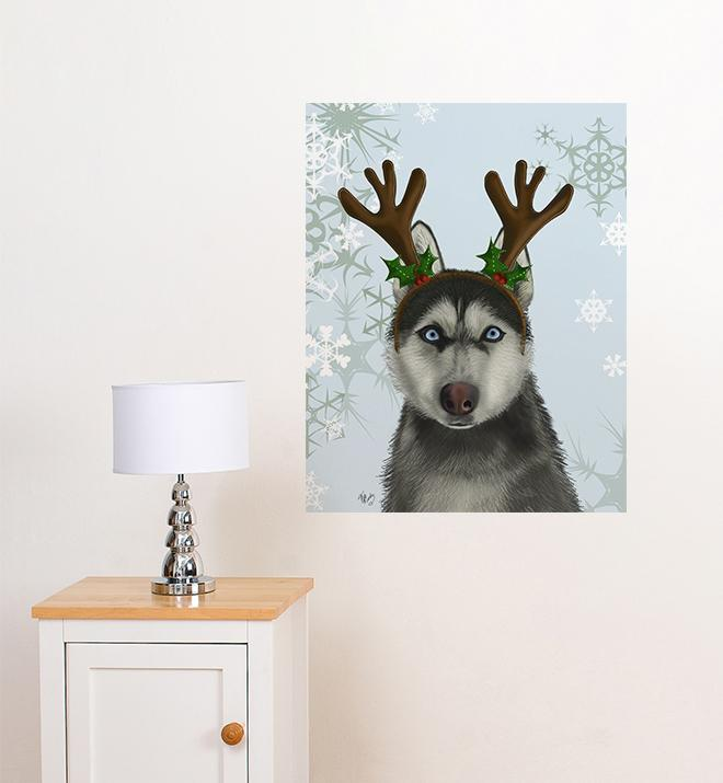 Husky With Antlers  Wall Sticker