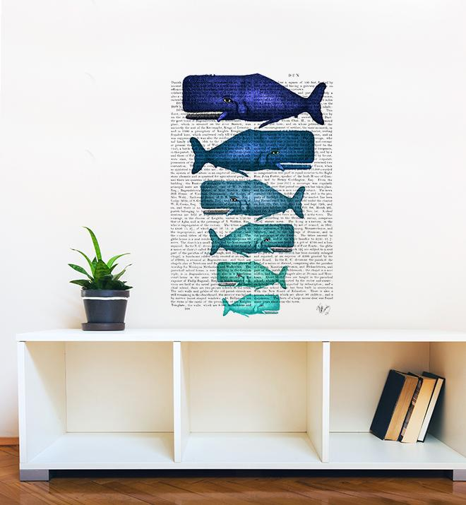 Blue Whale Family On Newspaper Wall Sticker