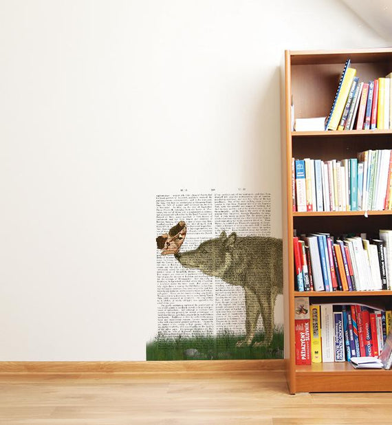 Wolf And Moth On Newspaper Wall Sticker