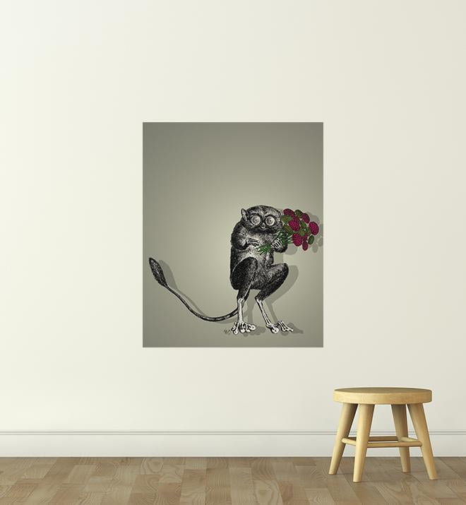 Friendly Freaky Holding Flowers Wall Sticker