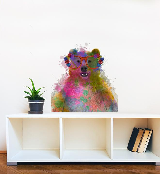 Rainbow Bear With Glasses Wall Sticker
