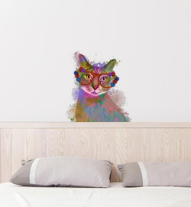 Rainbow Cat With Glasses Wall Sticker