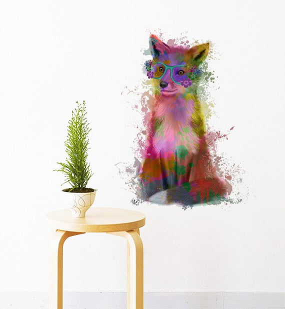Rainbow Fox With Glasses Wall Sticker