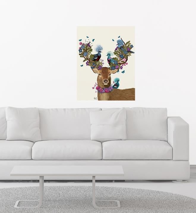 Deer Birdkeeper With Blue Pigeons Wall Sticker