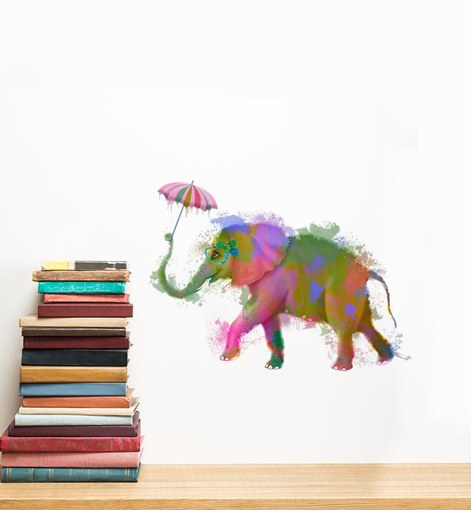 Rainbow Elephant With Umbrella  Wall Sticker