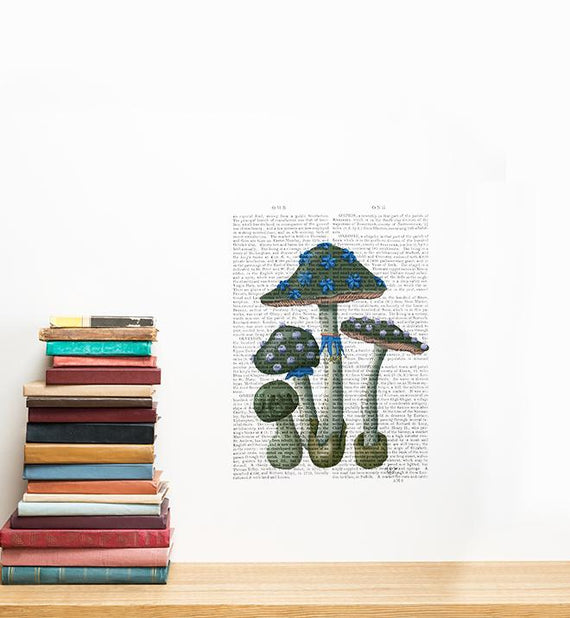 Mushrooms On Newspaper Wall Sticker
