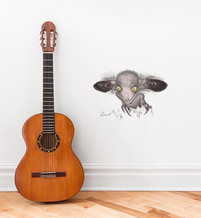 Spooky Creature With Big Eyes Wall Sticker