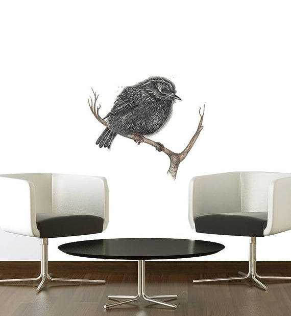 NZ Black Robin Bird Wall Sticker