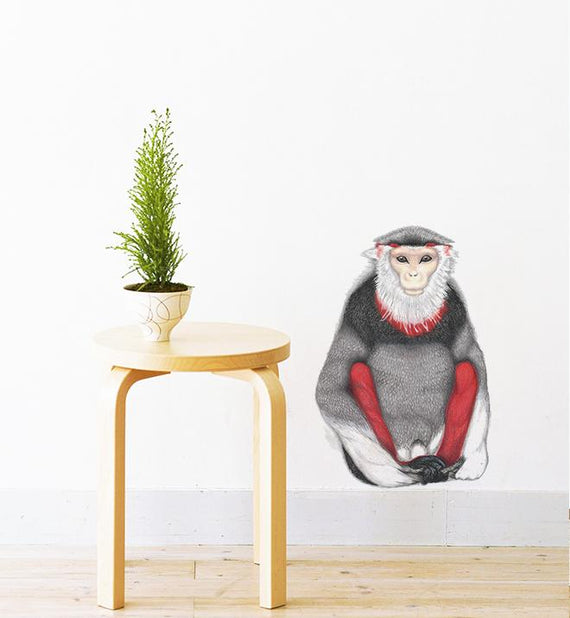 Sitting Monkey With Red Legs Wall Sticker