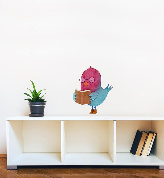 Bird Learning to Read Wall Sticker