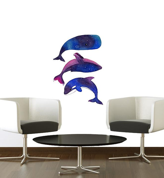 Galaxy Whale Family Wall Sticker
