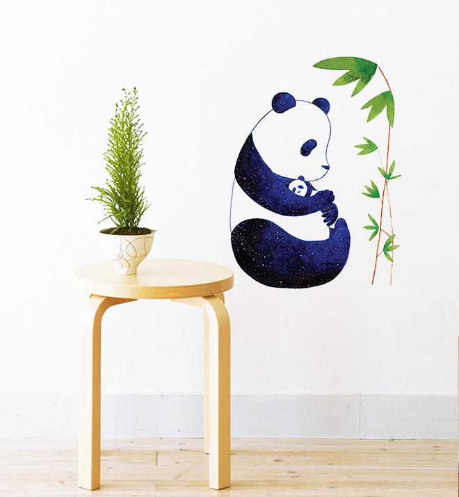 Mother Panda Holding Young One Wall Sticker