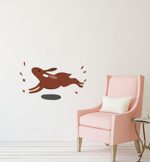 Bunny hopping in autumn leaves Wall Sticker