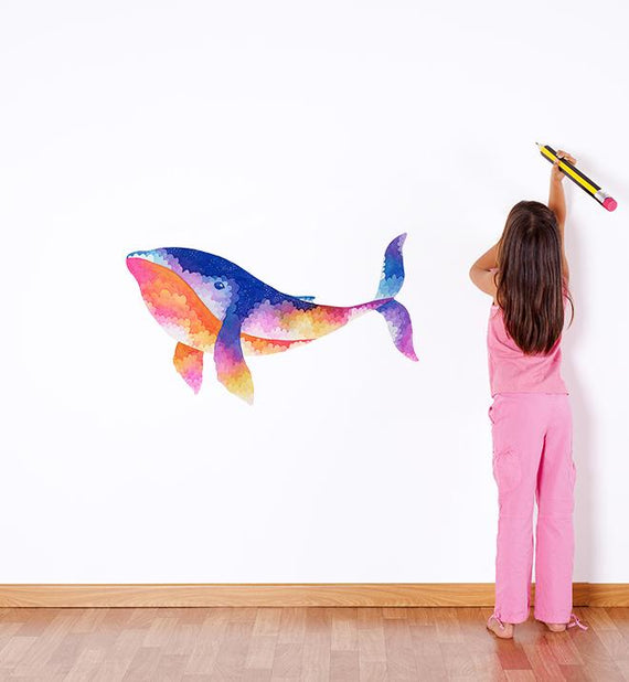 Colourful Sunset Whale Wall Sticker
